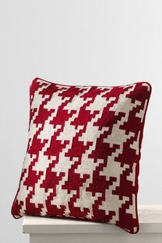 18x18 houndstooth needlepoint decorative pillow color Lands End $19.99