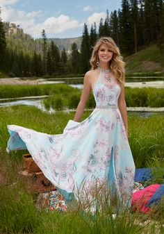 Morilee by Madeline Gardner 99038 | Floral Printed Chiffon Prom Dress with Delicately Beaded Bodice. Open Back. Colors Available: Blue Floral, Pink Floral