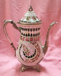 Shabby Chic Mosaic Tile Teapot Vase by AnnsMixNMatchMosaics