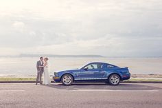 Wedding Blue Mustang at Dorset Beach wedding by one thousand words wedding photographers in Dorset and Hampshire www.onethousandwords.co.uk