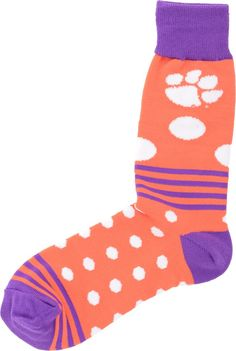 For Bare Feet Clemson Tigers Dots and Stripes 538 Socks