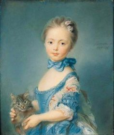 A Girl with a Kitten or Girl with cat (in French: Fillette au chat) is a beautiful pastel created by a French painter, engraver , pastel, especially specialized in portraits, Jean-Baptiste Perronneau (also well know as Perroneau). Illustrations Harry Potter, 18th Century Fashion, 19th Century, Cat Art, Art History, Kitten, Art Prints, Retro, Artwork