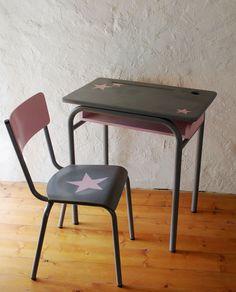 Ensemble Bureau et chaise d'écolier Vintage Relooké Gris Rose
