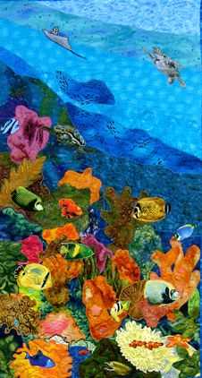 "Stacy West - FabricArt, ""Evening Dive"", 29 X 41"", spring 2009, courtepointe de la série Underwater."