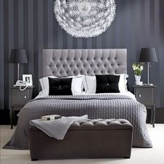 IKEA Light | Monochrome Bedding | Stripe Wallpaper | Tufted Headboard | Upholstered Furniture | Bedroom |