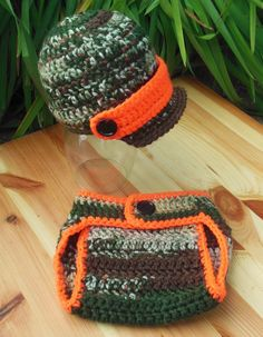 Crochet Camo Baby Diaper Cover and Brim Hat, Camo and Orange set, Photo Prop