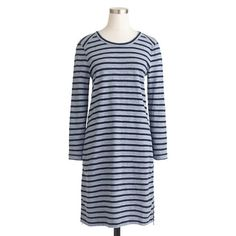 """An updated version of our maritime dress. We downsized the stripes but kept the side zips and the cool French girl vibe. The result? The ultimate put-on-and-go dress (which leaves more time for a little je ne sais quoi). <ul><li>Straight silhouette.</li><li>Falls above knee, 35"""" from high point of shoulder (based off size 6).</li><li>Cotton.</li><li>Side zip.</li><li>Machine wash.</li><li>Import.</li></ul>"""