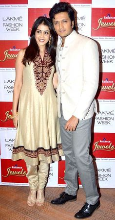 Riteish Deshmukh with Genelia D'Souza at Lakme Fashion Week 2013 - Day 4. #Bollywood #Fashion #Style #LFW