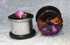 """Plugs tunnels Swarovski crystal stainless steel for gauged / stretched ears Sizes: 7/16"""", 1/2"""", 9/16"""" 11mm 12mm 14mm on Etsy, $20.50"""
