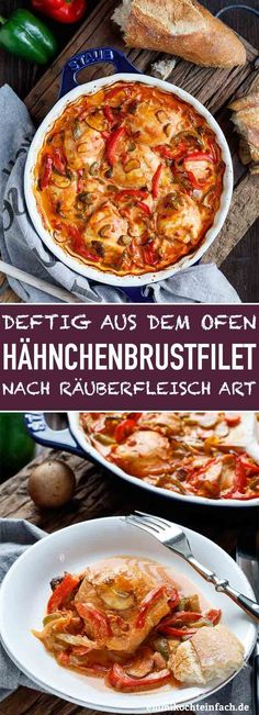 Deftige Hähnchenbrustfilets nach Räuberfleisch-Art – emmikochteinfach Hearty chicken breast fillets in the style of predatory meat The simple and uncomplicated Sausage Recipes, Meat Recipes, Pasta Recipes, Crockpot Recipes, Chicken Recipes, Dinner Recipes, Chicken Breast Fillet, Stuffed Mushrooms, Stuffed Peppers