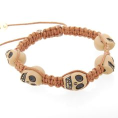 #Jewelry#Cool Weave Band Bracelet with Skull Charms in Bracelets - IDEA CENTER