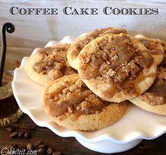 Coffee cake cookies sound so good! The recipe is so simple and easy too! What you'll need: 1 Roll of Pillsbury Sugar Cookie Dough  CRUMBLE:  1/2 cup packed light brown sugar  1/2 cup all-purpose flour  1/2 tsp. g...