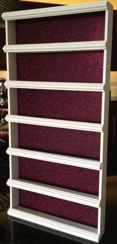 Nail Polish Rack, Pink Glisten byAlegory - Various Color Frame Options via Etsy Nail Polish Holder, Nail Polish Storage, Nail Rack, Nail Equipment, Make Up Storage, Storage Rack, Perfume Display, Jewelry Rack, Nail Polish Collection