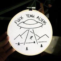 F*** Yeah Aliens Embroidery Hoop