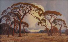 I used to go on painting outings with my Nanna as a child living in Zimbabwe and as a result I have always enjoyed the South African landscape painter Jacobus Hendrik Pierneef. He was considered to be one of the best old South African Masters. African Paintings, Old Paintings, Acrylic Paintings, Landscape Art, Landscape Paintings, South Africa Art, South African Artists, Cool Landscapes, Art Images