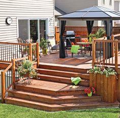 36 styles de garde-corps pour un look unique - Je Jardine Deck Railing Design, Patio Deck Designs, Yard Design, Gazebo On Deck, Pergola, Backyard Bar, Backyard Ideas, Patio Plans, Cement Patio