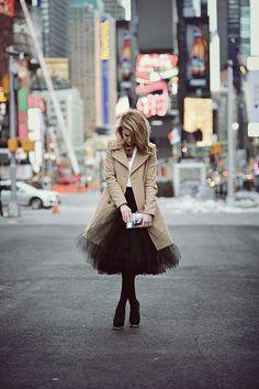 Make Life Easier Wearing Coat From Sisley, Top From Taranko, Tulle Skirt From Trendsetterka, Shoes From Zara