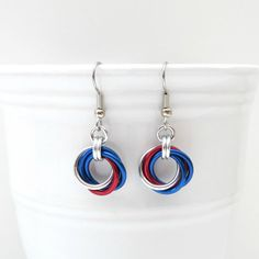 Red white and blue chainmail Love Knot earrings by TattooedAndChained