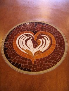 mosaic tile of latte art at Vivace