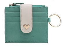 Ogem Womens and Girls Leather Peach Heart Thin and Fashion Card Wallet Useful Credit Card Wallets Small Compact Purse with Key Chain and Zipper (Green) *** See this great image @