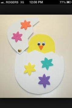 Peek-A-Boo Chick This cute Easter craft a kid favorite. Cut out your craft foam pieces using our provided template and assemble them so that your baby chick can hatch out of his beautifully decorated egg. Our daughter played with the peek-a-boo chick cra Easter Craft Activities, Easter Crafts For Kids, Toddler Crafts, Baby Activities, Easter Ideas, Easter Crafts For Preschoolers, Spring Activities, Kids Diy, Easter Recipes
