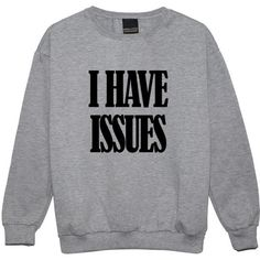 I Have Issues Sweater Jumper Womens Ladies Funny Fun Tumblr Hipster Swag Grunge Kale Goth Punk New R featuring polyvore, fashion, clothing, tops, sweaters, black, sweatshirts, women's clothing, jumpers sweaters, gothic tops, hipster sweater, star print sweater and goth sweater