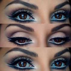 Miraculous Useful Tips: Healthy Skin Care Under Eyes anti aging makeup tips.Anti Aging Makeup Tips skin care poster design.Anti Aging Eye Vitamin E. Double Winged Eyeliner, How To Apply Eyeliner, Winged Liner, Eyeliner Styles, No Eyeliner Makeup, Eye Brows, Anti Aging, Makeup Looks For Brown Eyes, Blue Eyeshadow For Brown Eyes