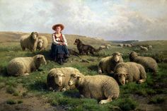 Shepherdess with Sheep in a Landscape by Cornelius Van Leemputten (1841-1902) and T. Gerard  (1829-1895)