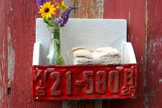 Primitive Barn wood bathroom shelf with rare 1929 Wisconsin license plate!
