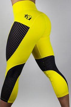 Bootyqueen Laser Cut Crop Leggings Yellow & Black