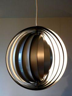 1970s MOON Ceiling Lamp w BOX Danish Modern Mid Century Poulsen Panton Lyfa 60s