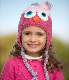 7fa2abd3bcc Crochet Pink Owl Critter Hat for baby   toddler Pink Owl