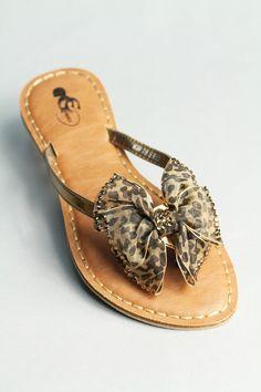Rhinestone bow sandal: - Brown rhinestones
