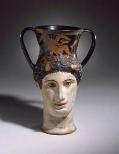 Red-figure ceramic head kantharos of a female faun or Io. Iliupersis Painter. Apulia, c. 375 - 350 B.C. | Los Angeles County Museum of Art