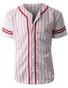 Gear up for baseball season in this striped short sleeve button down baseball jersey. Its perfect for outdoors activities or weekend getaways. Looks great with just anything. Feature - 55% Cotton / 45