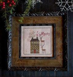 "PLUM STREET SAMPLERS ""Merry Brew"" - Primitive Christmas Cross Stitch Pattern, Leaflet-Designer Paulette Stewart"