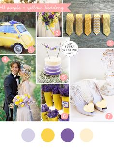Purple and yellow wedding inspiration board