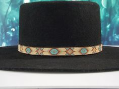 Native American Beaded Hat Band In A Southwestern Morning Star Pattern With The Colors Of Tan, Fire And Turquoise By LJ Greywolf Bead Loom Patterns, Bracelet Patterns, Star Patterns, Beading Patterns, Native American Design, Native American Beadwork, Native American Jewelry, Cowboy Hat Bands, Beaded Hat Bands