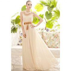 $12.73 Casual Style Scoop Neck Drape Openwork Sleeveless Chiffon Dress For Women