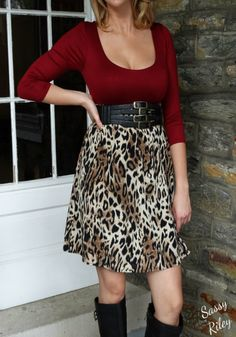 """www.sassyriley.com Just when you thought animal print apparel couldn't get any cuter........  """"Spotted Vixen"""" is MUST HAVE babydoll dress in your fall apparel! This dress is soft and comfortable and so CUTE!"""