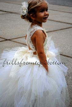 Ivory Flowergirl Dress . Tutu Skirt . Halter Top w/ Lace straps . custom made hairclip . Sizes 12mo - 5T. $90.00, via Etsy.