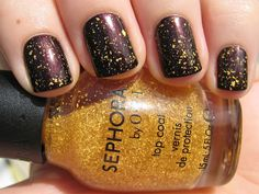 Sephora by OPI It's Real 18K Gold top coat over Sephora by OPI I'm With Brad - DizzyNails
