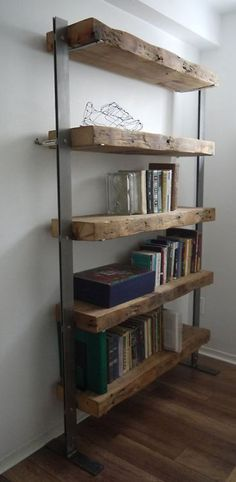 Wood and Metal Shelves. Industrial Furniture Hand Made Reclaimed Barn Wood and Metal Shelves. Wood And Metal Shelves, Reclaimed Wood Bookcase, Reclaimed Wood Furniture, Reclaimed Barn Wood, Rustic Furniture, Diy Furniture, Furniture Design, Industrial Furniture, Rustic Bookshelf