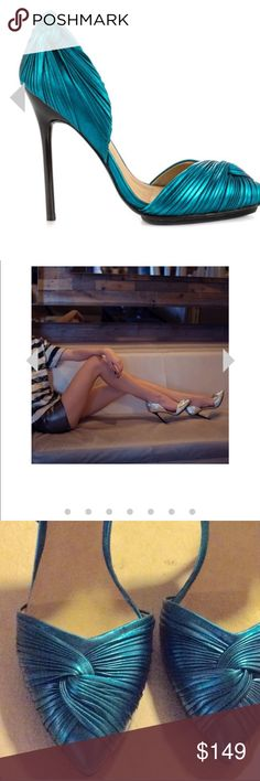 "L.A.M.B ""Warner""  blue metallic d'orsay heels sz 6 Brand new heels size 6 L.A.M.B. Shoes Heels"