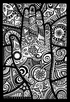 Doodle Art Letters, Easy Doodle Art, Doodle Art Designs, Doodle Art Journals, Doodle Patterns, Zentangle Patterns, Doodle Coloring, Mandala Coloring, Colouring Pages
