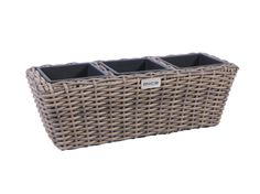 Balcony Square Resin Wicker Planter with 3 Plastic Inlays