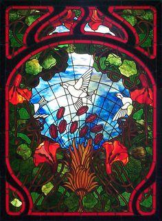 """Art Nouveau Birds"" stained glass by Arnold Lyongrun / Kal Koball"