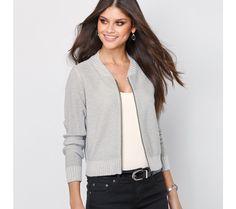 Trblietavý sveter na zips | modino.sk #modino_sk #modino_style #style #fashion #newseason #autumn #fall Bomber Jacket, Outfit, Sweaters, Jackets, Fashion, Gray, Full Sleeves, Tunics, Down Jackets