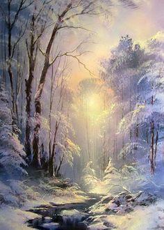 Завораживающие зимние пейзажи. Художник Юшкевич