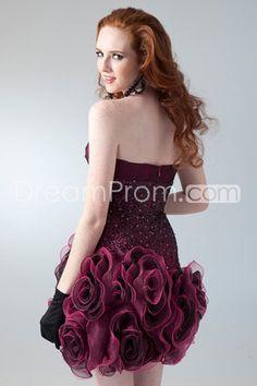 Sheath/Column Sweetheart Sleeveless Short/Mini Organza Prom Dress